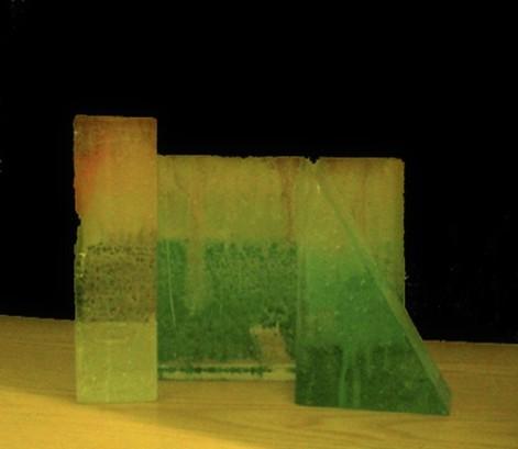 'Architetture', blocchi in vetro di Murano dipinto a mano