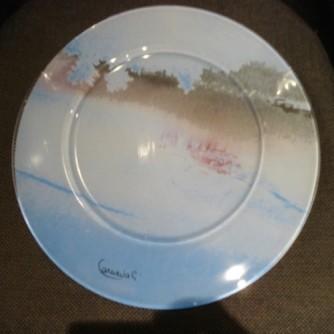 'Veronese', segnaposto in vetro dipinto, diametro cm 32