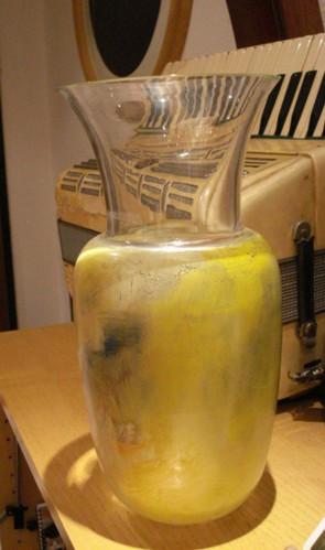 Vaso in vetro dipinto a mano, h cm 50