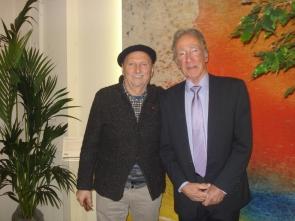 Inaugurazione di 'Atelier' a Cannes: l'artista Erio Carnevali insieme a Gilles Mascaro, Direttore Generale IRIS Ceramica Francia