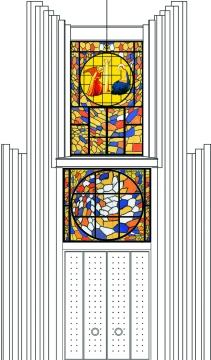 Esecutivo della facciata con vetrata di Erio Carnevali